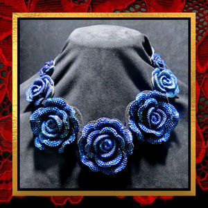 New Blue Rose Statement Necklace  #717